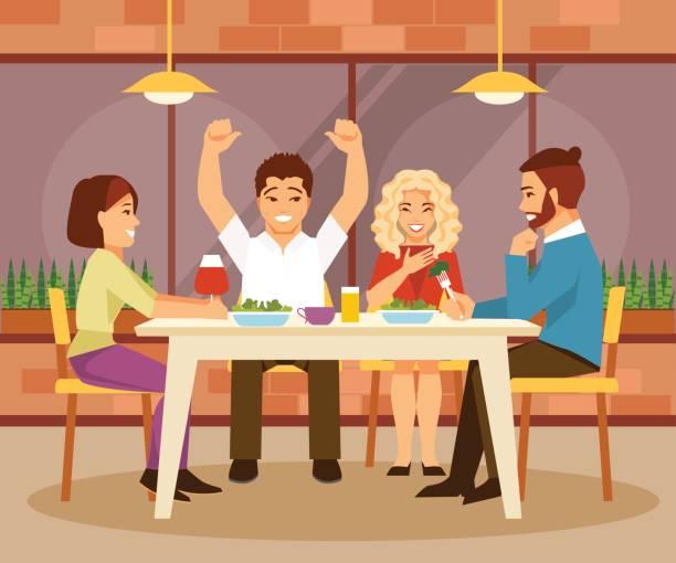 illustrazioni stock, clip art, cartoni animati e icone di tendenza di friends in a cafe - dinner couple restaurant