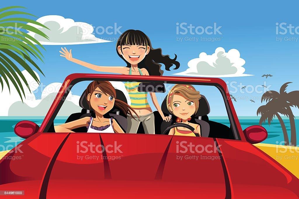 Friends in a car vector art illustration