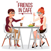 Friends In Cafe Vector. Two Woman. Drinking Coffee. Bistro, Cafeteria. Coffee Break Concept. Lifestyle. Have Fun. Communication Breakfast. Isolated Flat Cartoon Illustration