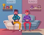 istock Friends is gaming. Nerds room interior. Cartoon vector illustration 1125361107