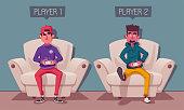 istock Friends is gaming. Nerds room interior. Cartoon vector illustration 1125361155