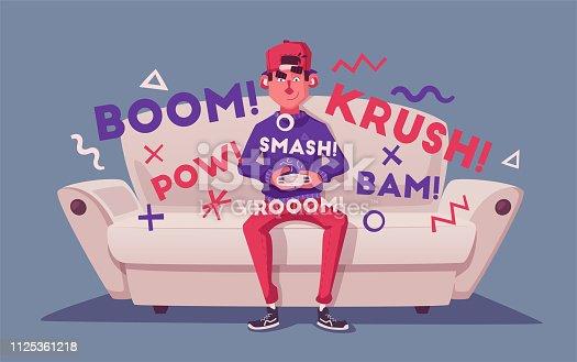 istock Friends is gaming. Nerds room interior. Cartoon vector illustration 1125361218