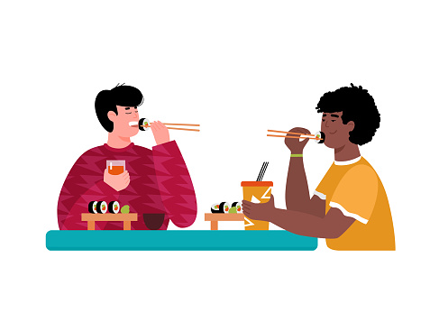 Friends man eating sushi in japanese restaurant vector illustration isolated.