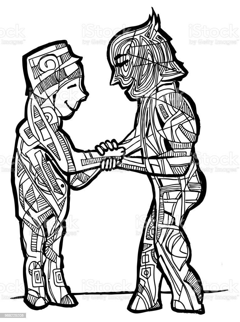 Ilustración De Página Para Colorear De Amigos Se Encuentran Y Más