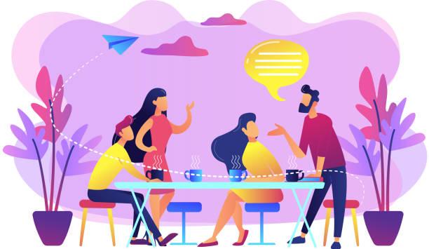 stockillustraties, clipart, cartoons en iconen met vrienden meeting concept vector illustratie. - group of fans talking