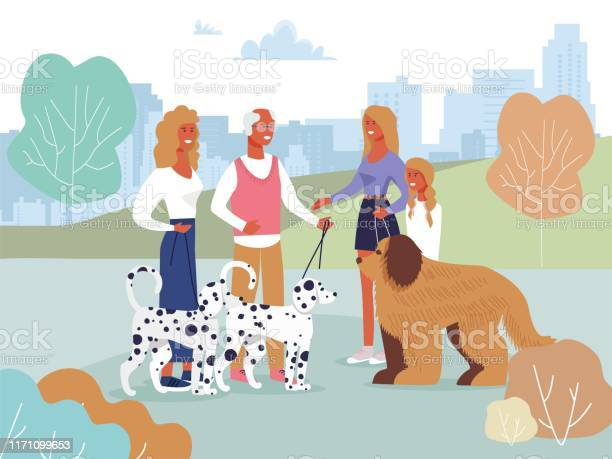 Friends meeting in park on walk with dogs cartoon vector id1171099653?b=1&k=6&m=1171099653&s=612x612&h=bivnrxcibyesjbp6bydtpgqa0q80cd4tmxc7peeamac=