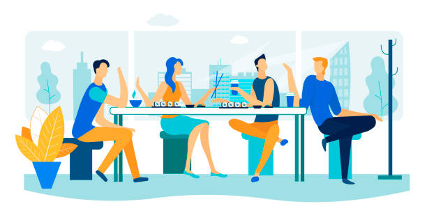 friends meeting in sushi bar. weekend leisure time - sushi stock illustrations
