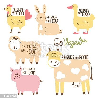 istock Friends not food. Vector set of farm animals vector cartoons illustration with text isolated on white for design 1312534058