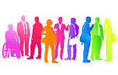 Crowd of colourful silhouettes of business people
