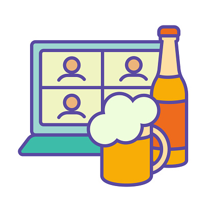 Friends online foam party teleconference network with a glass cup of beer and a bottle of foamy. There are people on the screen. Outline vector color icon
