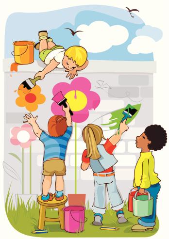 Friends Painting Flowers Together Stockvectorkunst en meer beelden van Alleen kinderen