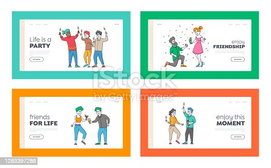istock Friends Party with Drinks, Friendship Landing Page Template Set. Young People Rejoice Laughing and Drinking Cocktails 1283397288