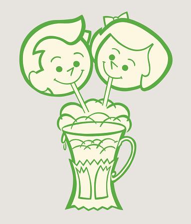 Friends Sharing a Milkshake