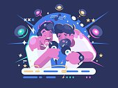 Friends sing in karaoke club. Leisure and entertainment. Vector illustration