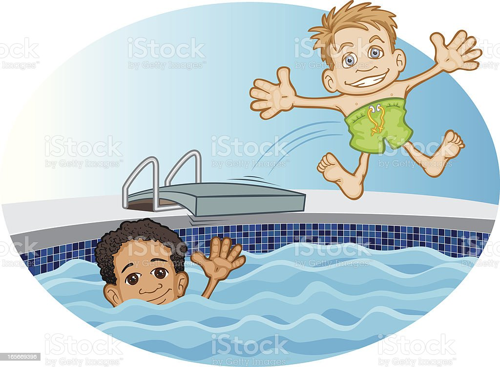 Friends Swimming vector art illustration