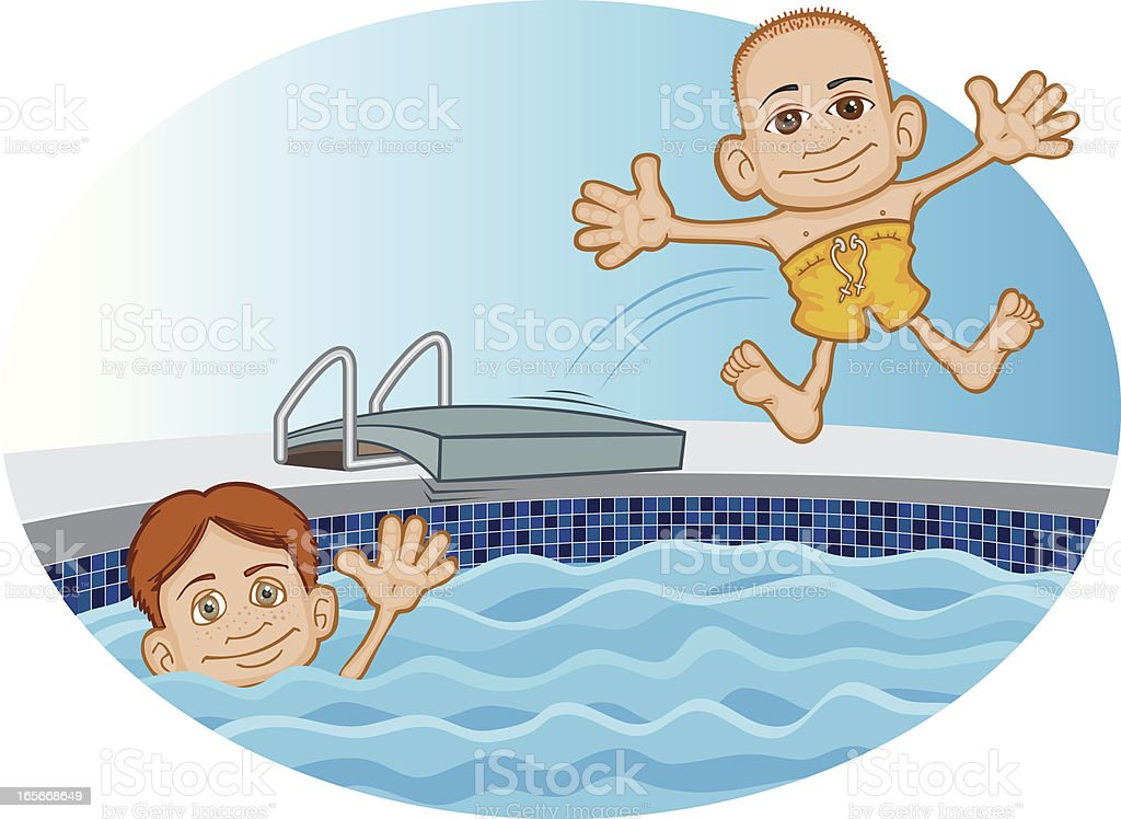 Friends Swimming5 vector art illustration