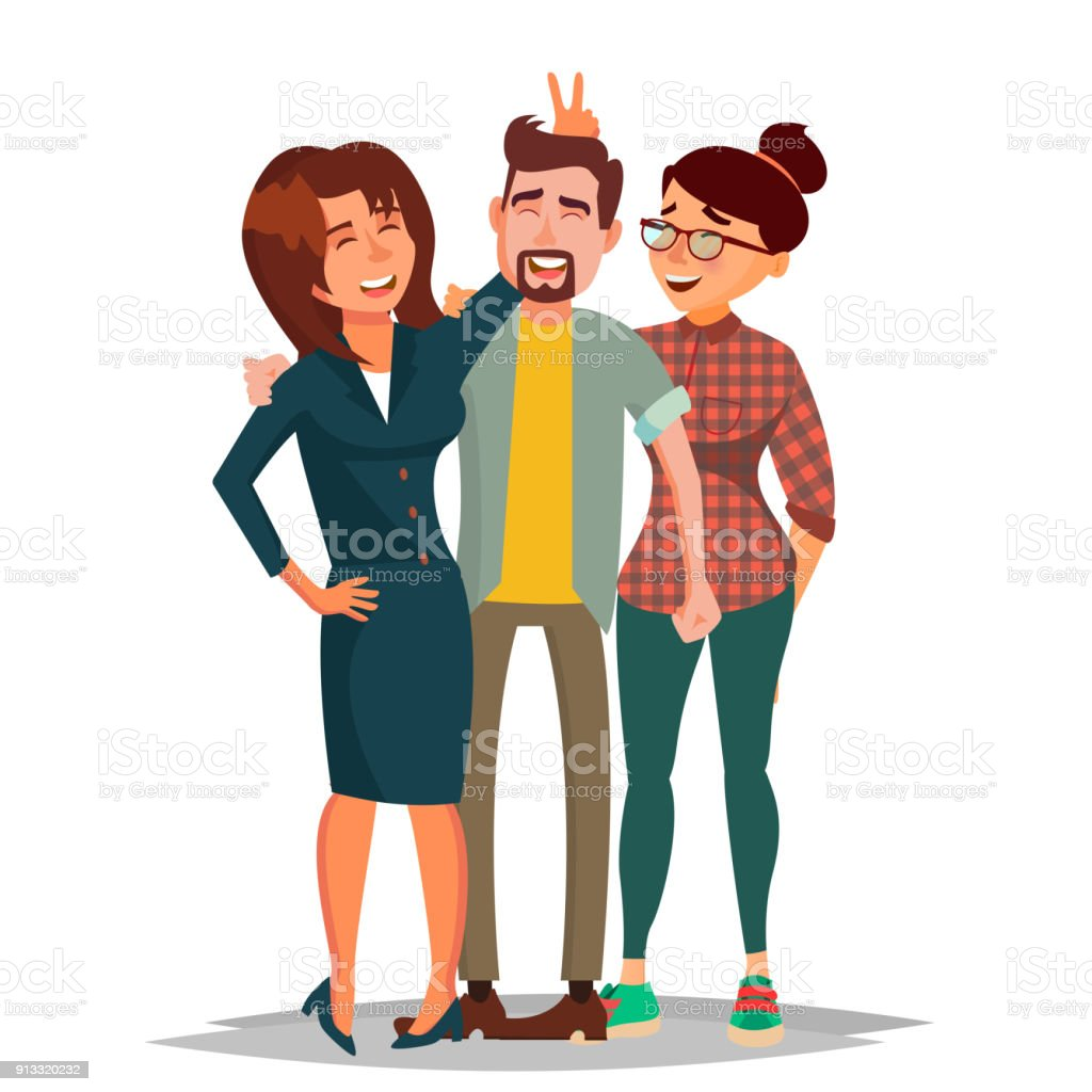 Friends Taking Photo Vector. Laughing People Group, Office Colleagues. Creative Man And Women. Friendship Concept. Isolated Cartoon Illustration vector art illustration