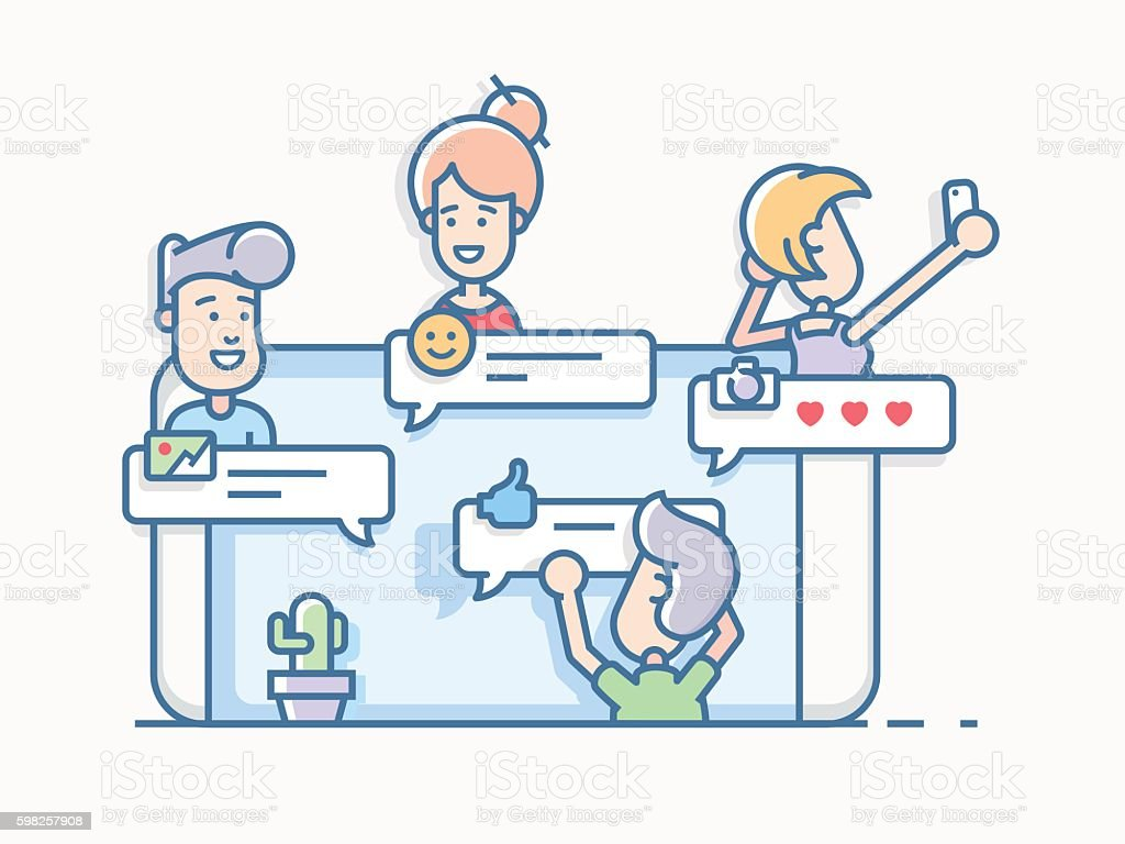 Friends talking in chat app on mobile phone vector art illustration