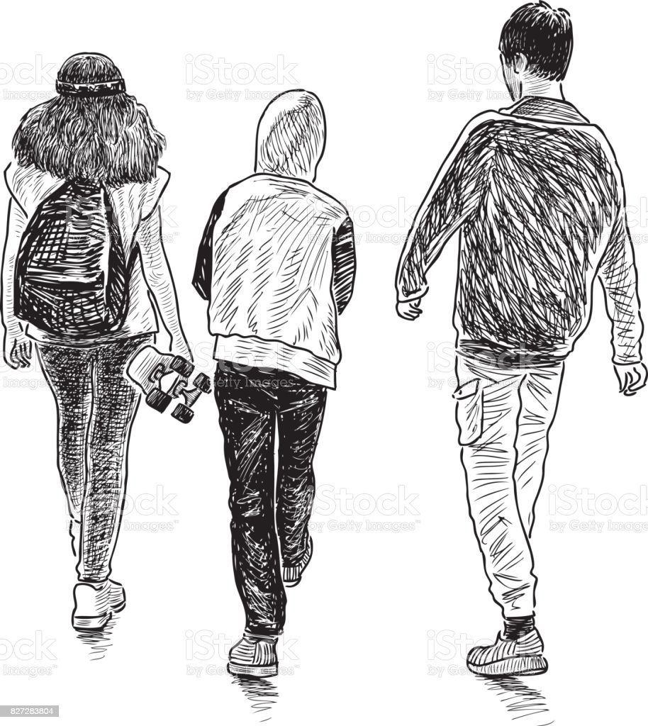 Friends teenagers go for a walk vector art illustration