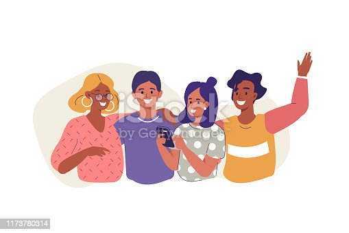 Friends Standing Together. Diverse People Group Portrait. Happy Woman and Man Characters Hugging, Laughing and Having fun. Young Creative Team. Friendship Concept.  Flat Cartoon Vector Illustration.