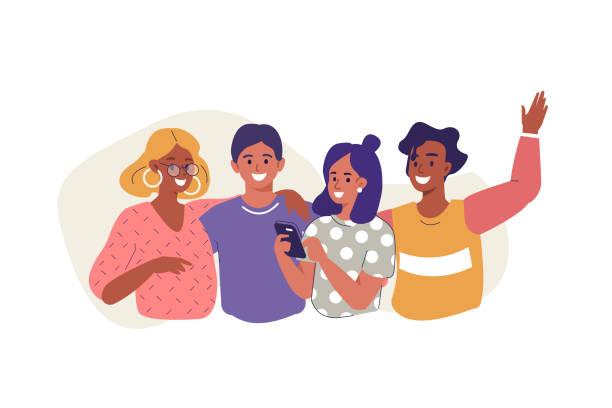 przyjaciele - przyjaźń stock illustrations