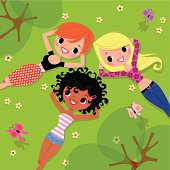 Multi-Ethnic Group of Girls enjoys a Vacation in the Nature. AI 10 EPS. Use transparency.