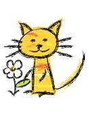 Funny kitty playing with a cute daisy