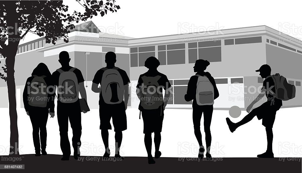 Friends Walking To School vector art illustration