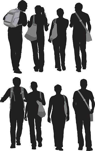 illustrazioni stock, clip art, cartoni animati e icone di tendenza di amici a piedi insieme - compagni scuola