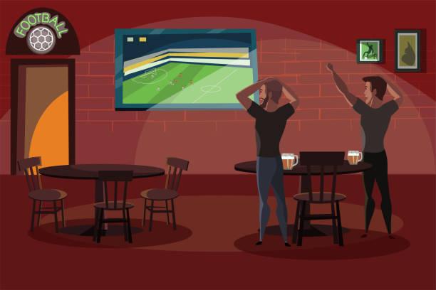 ilustrações de stock, clip art, desenhos animados e ícones de friends watching football match in bar flat illustration - soccer supporter portrait
