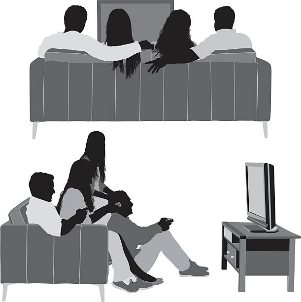 Friends watching television Friends watching televisionhttp://www.twodozendesign.info/i/1.png watching tv stock illustrations