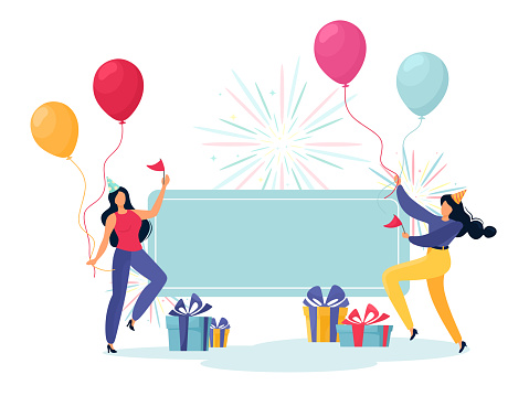Friends with balloons and presents. Place for your text and congratulations on a holiday, corporate event, anniversary or birthday. Cartoon characters in flat style.