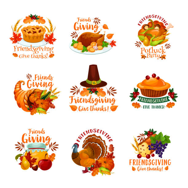 friendsgiving holiday and potluck icons - thanksgiving turkey stock illustrations