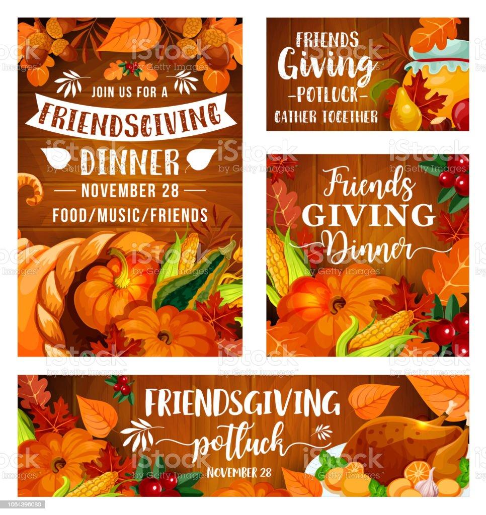 friendsgiving potluck dinner thanksgiving day stock vector art