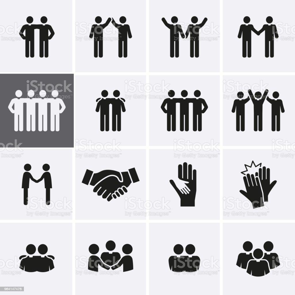 Conjunto de icono de amigo y la amistad ilustración de conjunto de icono de amigo y la amistad y más vectores libres de derechos de abstracto libre de derechos