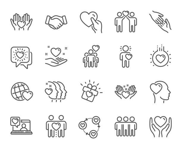 bildbanksillustrationer, clip art samt tecknat material och ikoner med vänskap och kärlek linje ikoner. interaktion, ömsesidig förståelse och biståndsverksamhet. vektor - omsorg