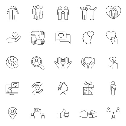 Friendship and love line icons. Interaction, Mutual understanding and assistance business. Trust handshake, social responsibility, mutual love icons. Trust friends, partnership. Web design. Eps10.