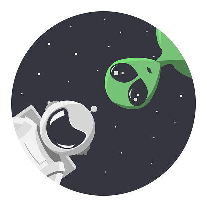 Friendship between alien and cosmonaut. Extraterrestrial and astronaut looks at us through the round hole of space. In flat cartoon style for t-shirt, print or textile. Vector illustration.