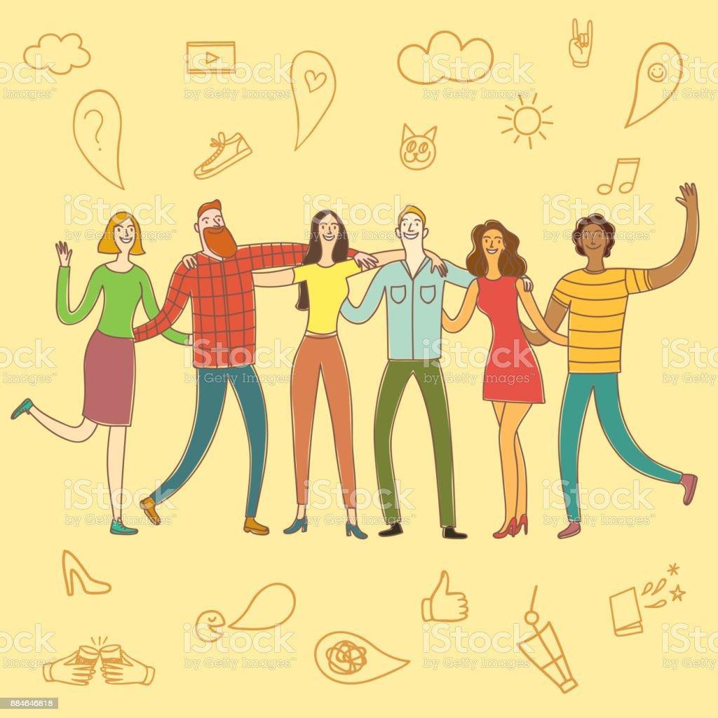 Friendship cartoon illustration