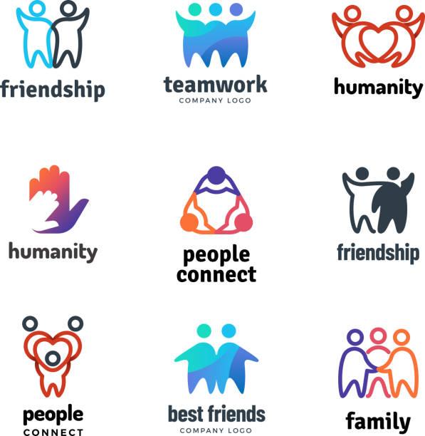 legen sie freundschaft gemeinschaft freundliches team menschen zusammen zusammenarbeit vektor-logo - kulturen stock-grafiken, -clipart, -cartoons und -symbole