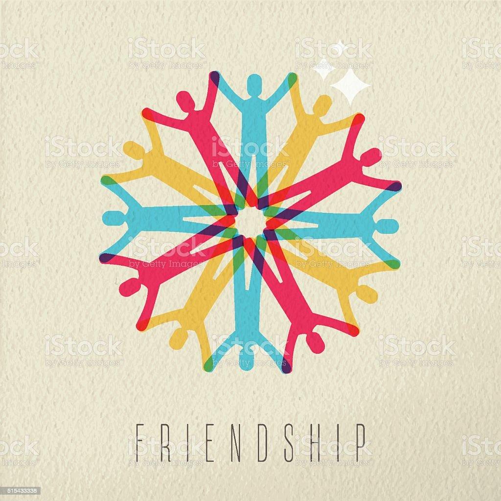 Friendship concept diversity people color design vektör sanat illüstrasyonu