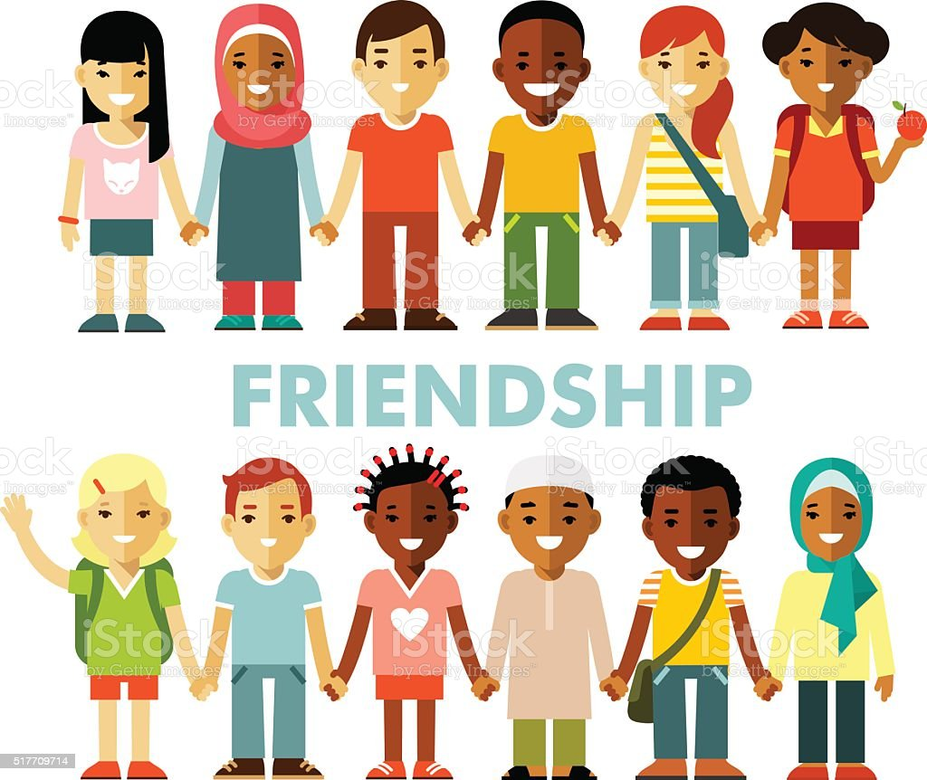 Friendship concept with different multicultural happy children in flat style vector art illustration