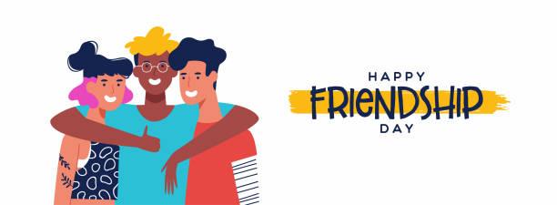 freundschaftstag banner von drei freunde gruppe umarmung - freunde stock-grafiken, -clipart, -cartoons und -symbole