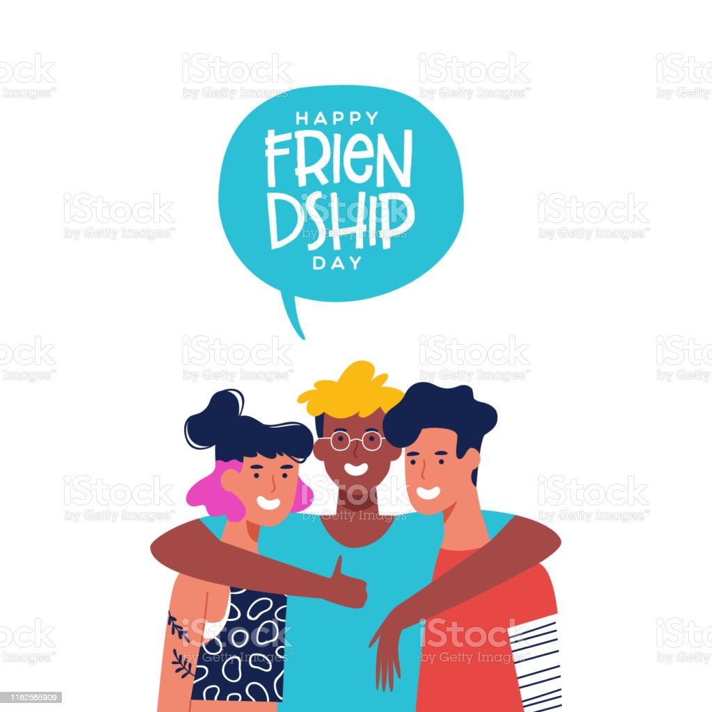 Friendship Day Card Of Three Friends In Group Hug Stock Illustration Download Image Now Istock