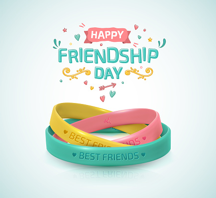 Friendship Day poster, happy holiday of amity. Three rubber bracelets for best friends: yellow, pink and turquoise. Silicone wristbands and inscription of congratulations. clipart