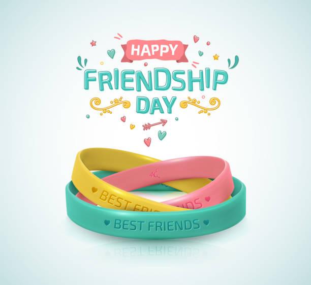 friendship day plakat, glücklicher urlaub der freundschaft. drei gummiarmbänder für die besten freunde: gelb, rosa und türkis. silikon-armbänder und beschriftung von glückwünschen. - freunde stock-grafiken, -clipart, -cartoons und -symbole