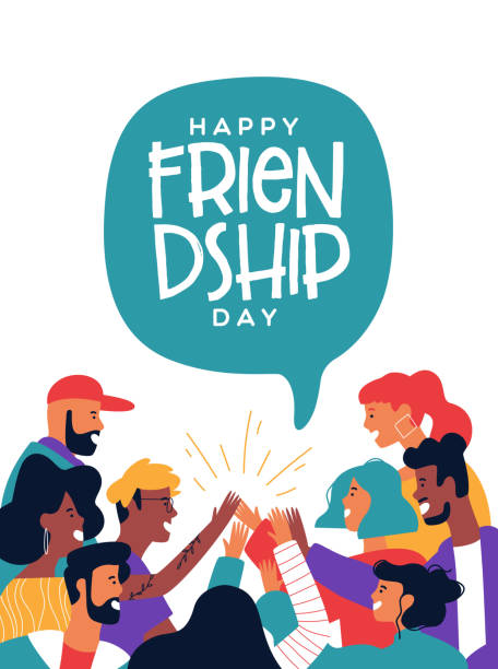 Friendship day poster of friends doing high five Happy friendship day greeting card with diverse friend group of people doing high five together. Young generation on social event holiday. youth culture stock illustrations