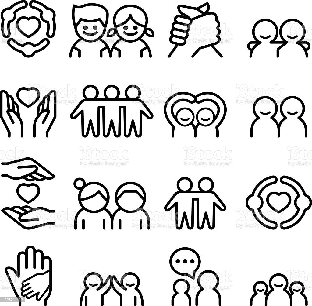 Friendship & Friend icon set in thin line style - illustrazione arte vettoriale