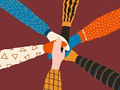 Friendship hands. Stack of different people hands, friends or team trendy concept. Vector cooperation and teamwork interracial teamwork poster