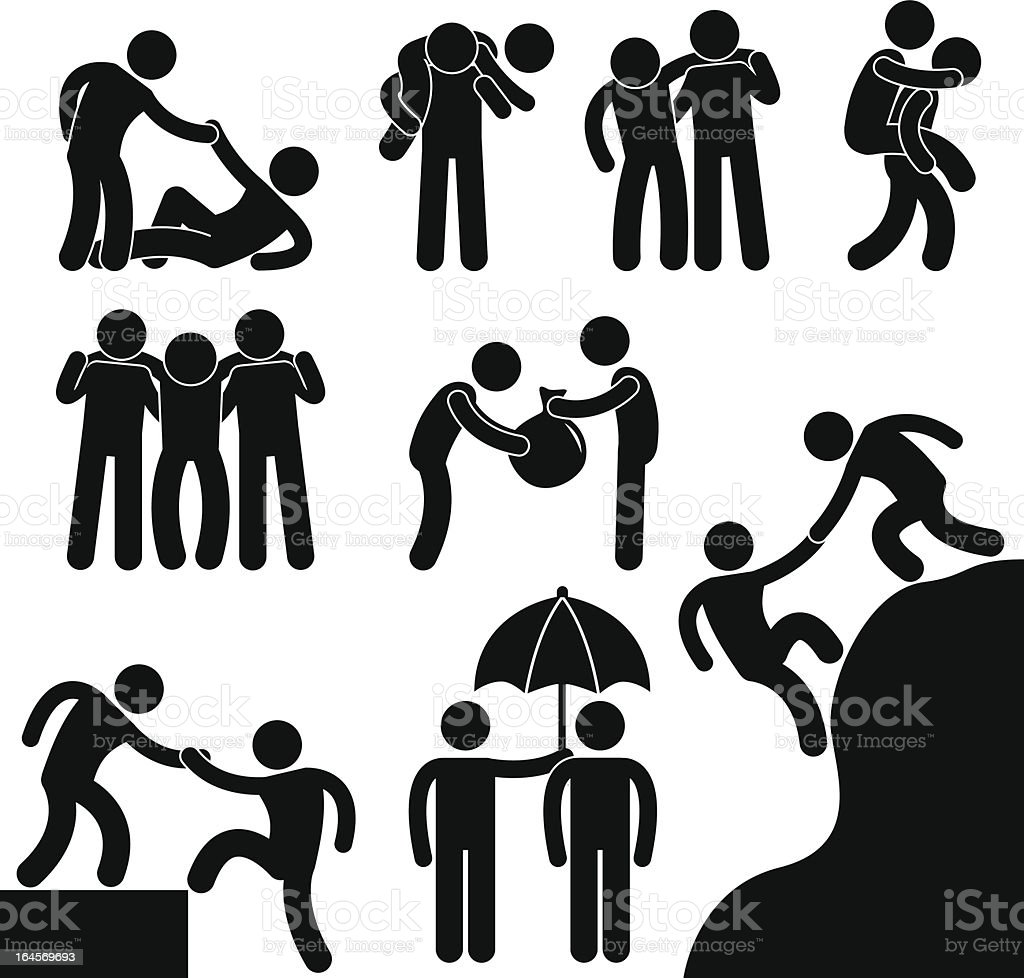 Friendship Helping Hand Pictogram royalty-free stock vector art